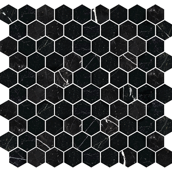 Stone Hex Nero Honed